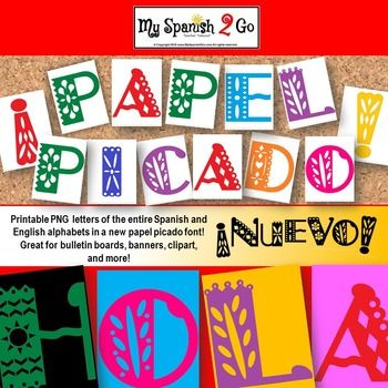 You asked for it!  Every Spanish teacher needs some (MORE) papel picado! Here is a collection of PNGs of my new papel picado font.  Includes the entire English and Spanish alphabet (including accented vowels, , and the upside-down punctuation marks!)  These make beautiful bulletin boards as well as hallway displays for Open House or Hispanic Heritage Month!