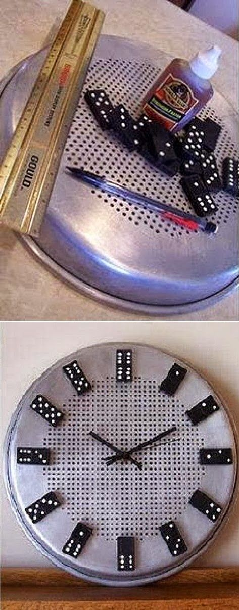 DIY Domino Clock You will need :  stainless steel pan Glue   Domino  clock parts
