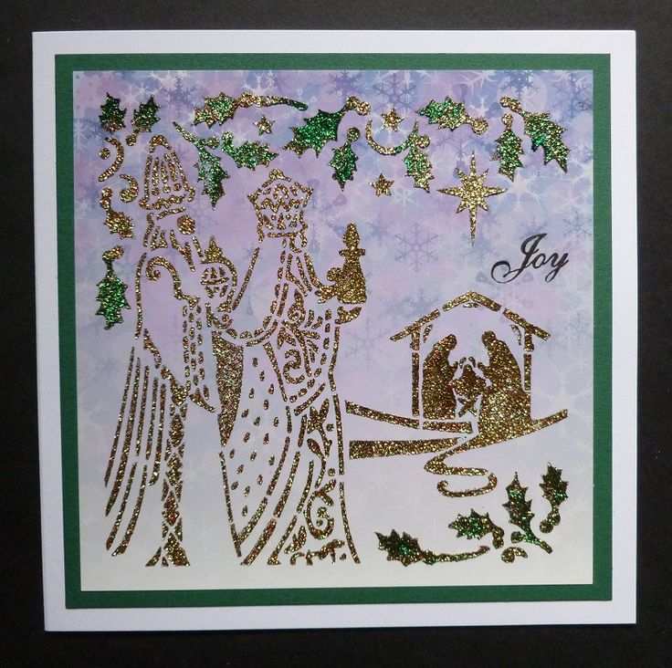 'Bearing Gifts' Christmas card - Imagination Craft's- Forest green, Bright red & Gold shine Sparkle Mediums.  Metal spatula.  Bearing Gifts stencil.  Purple snow background card.  Black ink pad.   June 2017.   Designed by Jennifer Johnston.
