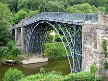 Industrial Revolution - Iron Bridge, Shropshire England. First arch bridge to be made of cast iron