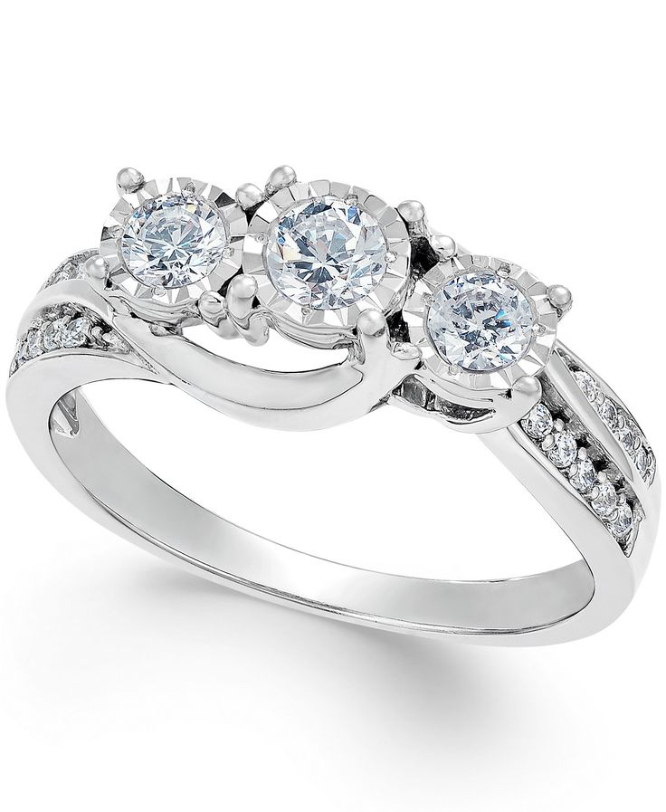 Diamond Three-Stone Ring in 14k White Gold (1/2 ct. t.w.) | macys.com