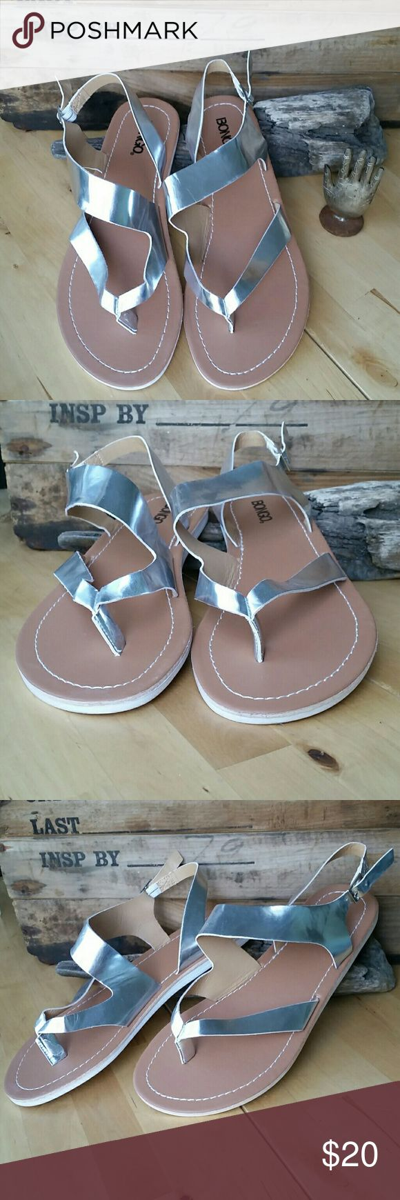 NWOT BONGO Mirrored Silver Strappy Sandals New, never worn, without tags!   These BONGO vegan leather, silver mirrored strappy sandals will carry you through spring and summer with ease. Super flexible for extra comfort! Possibly rare, as I could not find these anywhere else online.  True to size. Style: BECCA BONGO Shoes Sandals