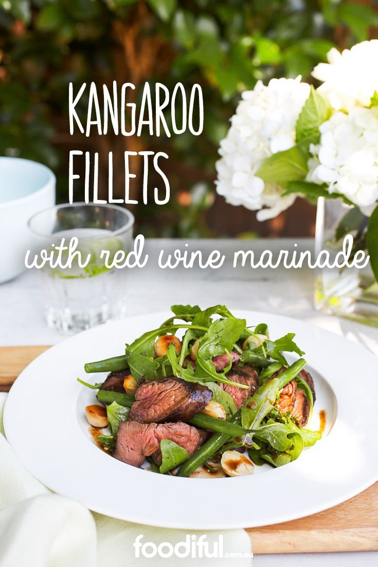 These kangaroo fillets make an excellent barbecue lunch on Australia Day. With a pepperberry & red wine marinade, and topped with rocket leaves and macadamias, it's a 'true blue' Aussie meal. It takes 3 hrs and 26 mins and serves 6.