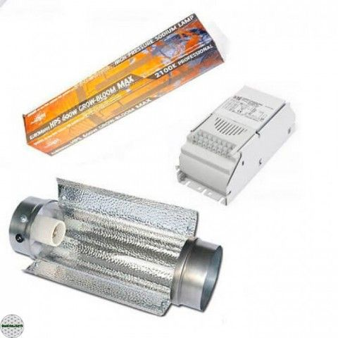 Kit Iluminación 600W + Cooltube + Bombilla PURE LIGHT HPS para tu cultivo de marihuana de interior al mejor precio!
