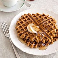Pumpkin-Ginger Waffles    I bet for a new take on Pumpkin Pie, you could add the chopped ginger also...mmmm