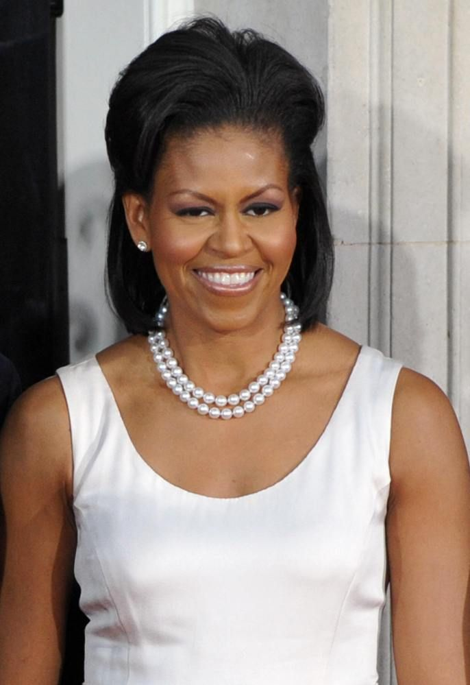 Michelle Obama wearing a glam set of pearls. The #Embellish Olivia Necklace is similar and priced at $59: http://ldig.it/119t2QS
