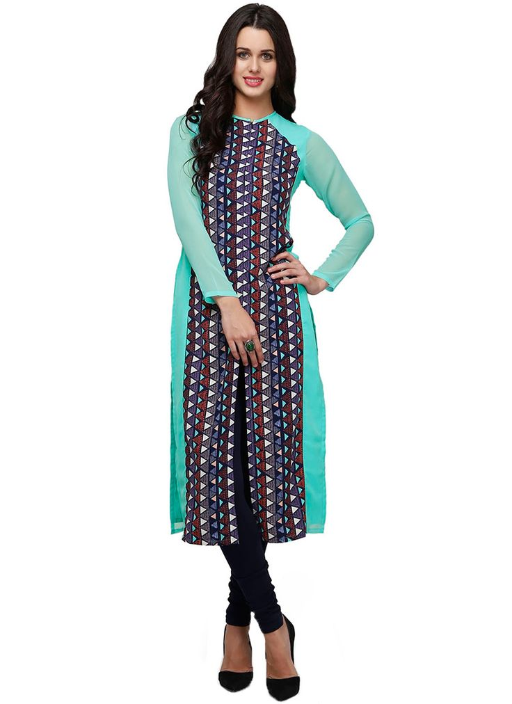 Buy Ojjasvi Turquoise N Multicolored Long Kurti online from the wide collection of long-kurti.  This Turquoise | Multicolored colored long-kurti in Faux Crepe fabric goes well with any occasion. Shop online Designer long-kurti from cbazaar at the lowest price.