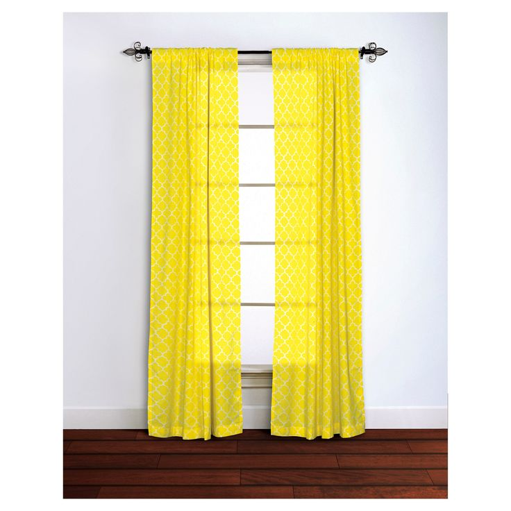 curtain panels rizzy home ylw quatrefoil design yellow