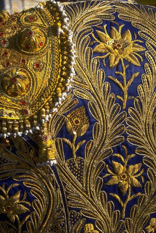 A detail of the blue and gold embroidery on the back of a matador's jacket, Chinchon, Spain.: Pattern, Blue, Jackets, Costume, Gold Embroidery, Matador S Jacket, Spain