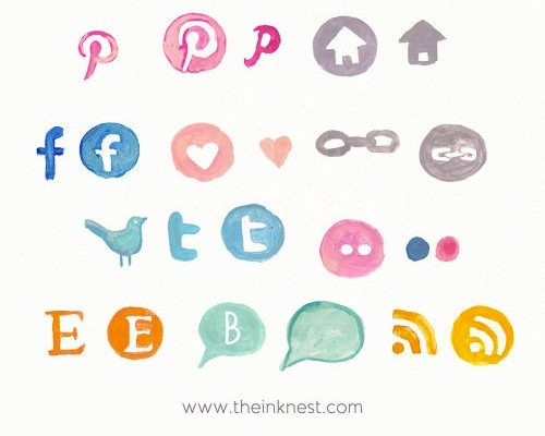 My Cup of Te hand-painted social media icons