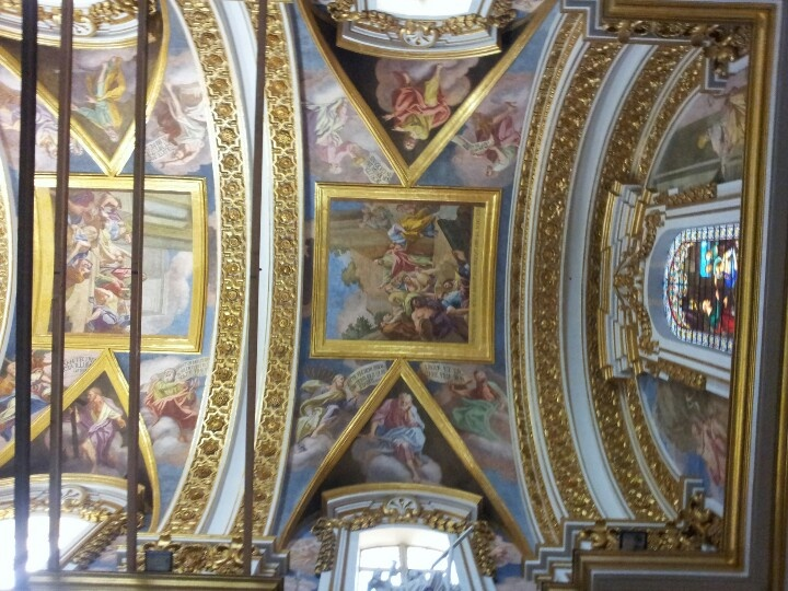 Ceiling of St Paul's cathedral in Mdina