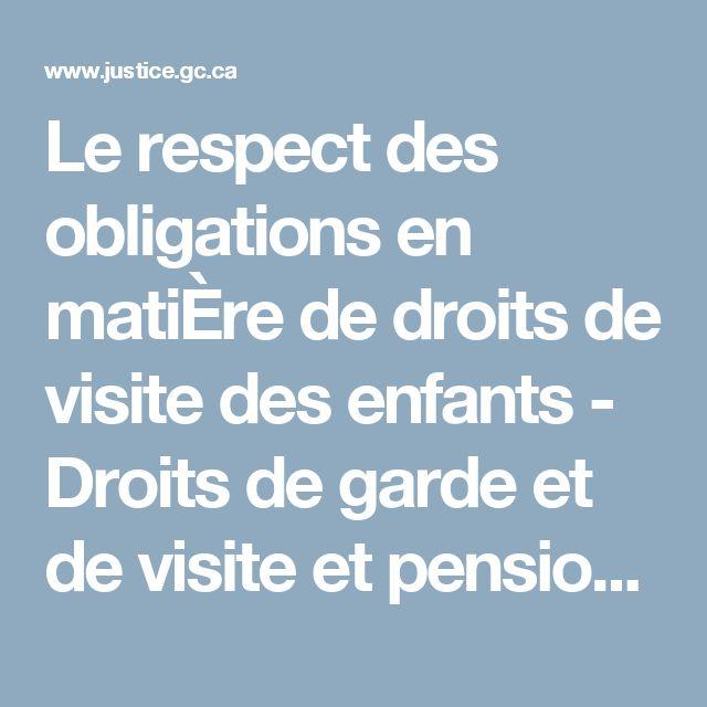 Le respect des obligations en matiÈre de droits de visite des enfants - Droits de garde et de visite et pensions alimentaires pour enfants au Canada