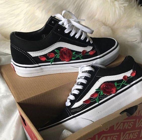vans old skool femme avec roses
