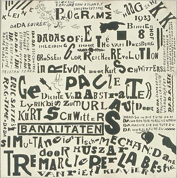 Theo van Doesburg. Poster Kleine Dadasoirée Haagsche K.K. [proof]. December 1922 - 10 January 1923. Lithography. Dimensions unknown. Utrecht, Centraal Museum (inv.nr. ab4991).Theo Vans, Dada Art, Design Art, Dada Typography, Dada Soirée, Crossword Puzzle, Typography Inspiration,  Crossword, Vans Doesburg