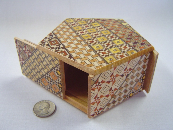 Japanese Puzzle box (Himitsu bako)- PENTAGON -Open by 6steps Yosegi. $62.00, via Etsy.