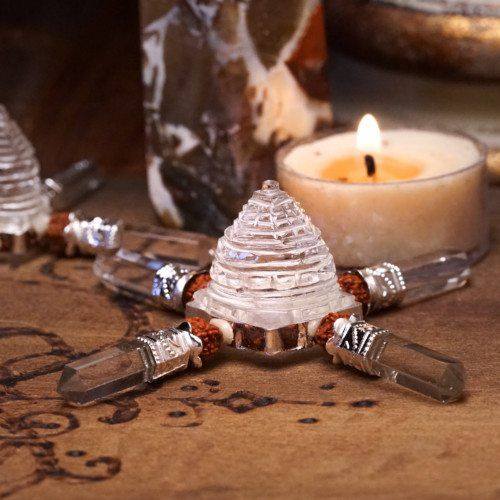 Sri Yantra Clear Quartz Generators for layers of ancient Hindu symbolism. These…