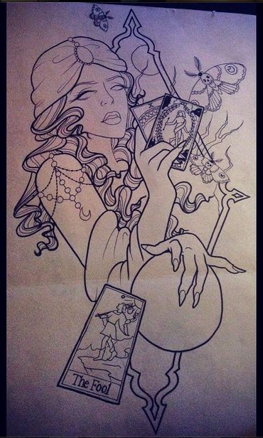 Psychic lady tattoo design in neo traditional style. #psychic #lady #tarot…