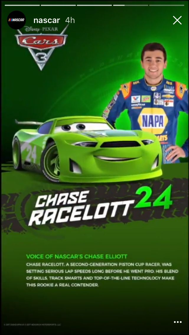 chase elliott is going to be chase racelott in cars 3. Black Bedroom Furniture Sets. Home Design Ideas