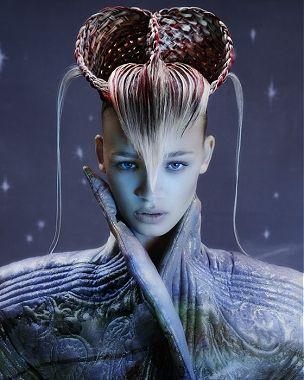long blonde straight updo weird avant garde avant garde colour Womens hairstyles for women