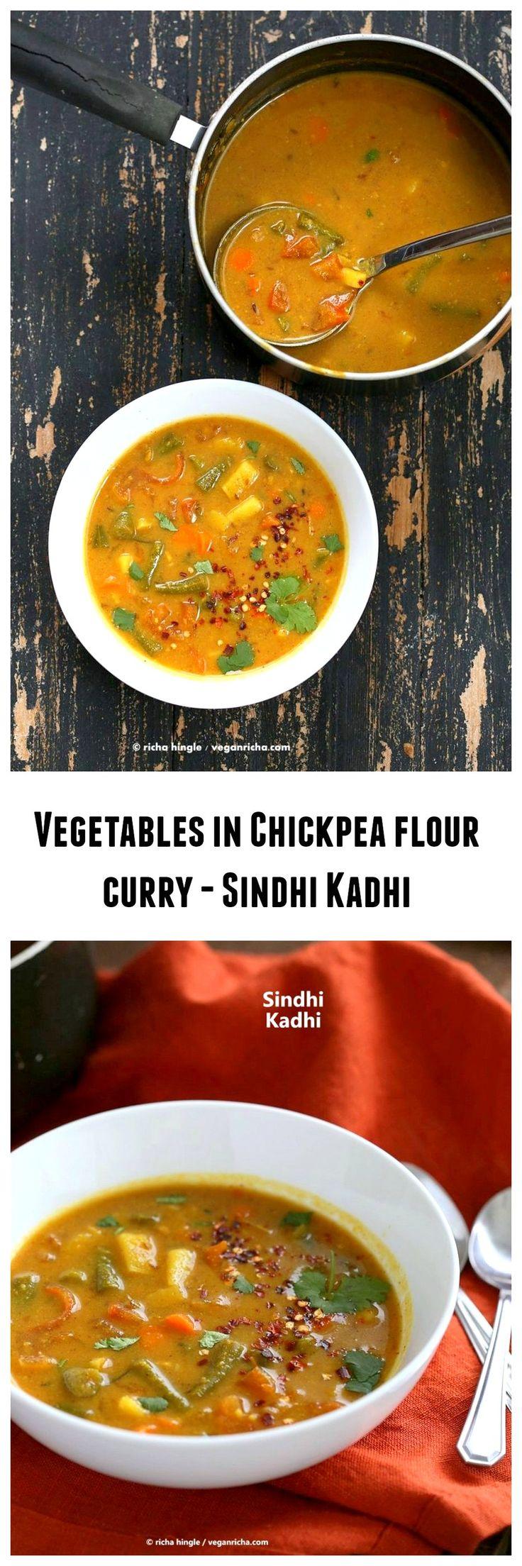 Vegetables in Chickpea flour Sauce - Sindhi Kadhi   VeganRicha.com #vegan #Indian #main #soyfree #glutenfree #recipe #chickpeaflour