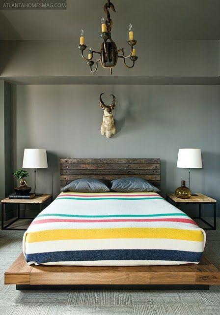 I like this bed platform.: Interior, Animal Head, Bed Frame, Blankets, Hudson Bay, Bedroom, Bay Blanket