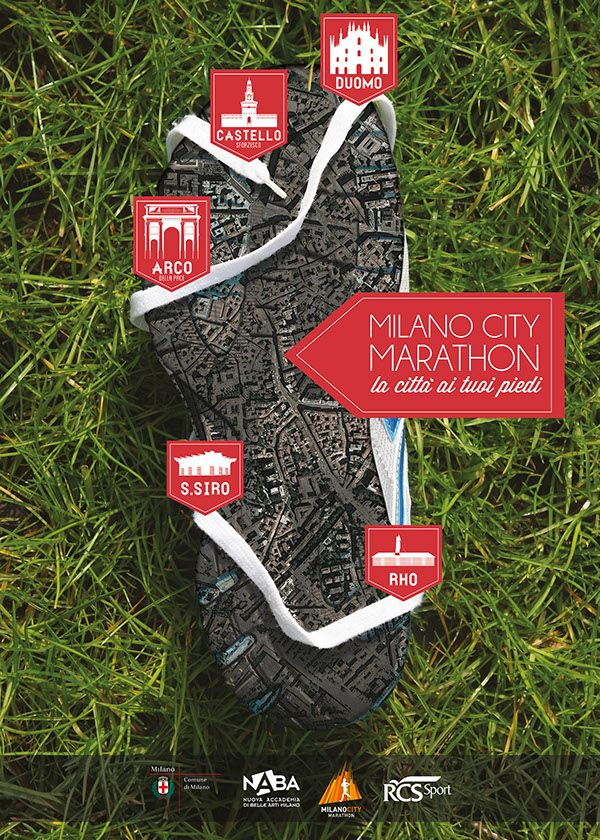 Ranked #1 in the poster design competition for the best conjugation of the key aspects of the event: #runners and their common love for the #sport, #ecology and historic places on the path. #milan #milano #city #marathon #poster #sforzesco #duomo #sansiro #grass #shoe