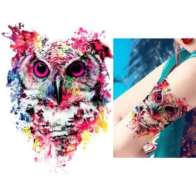 Tattoo Sticker 1 Sheet Temporary Owl Decal Design Waterproof