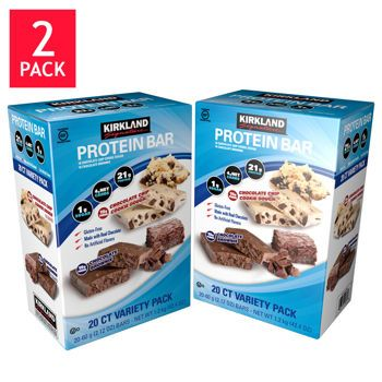 Kirkland Signature™ Protein Bar Chocolate Brownie & Chocolate Chip Cookie Dough 2- Pack 20 Count