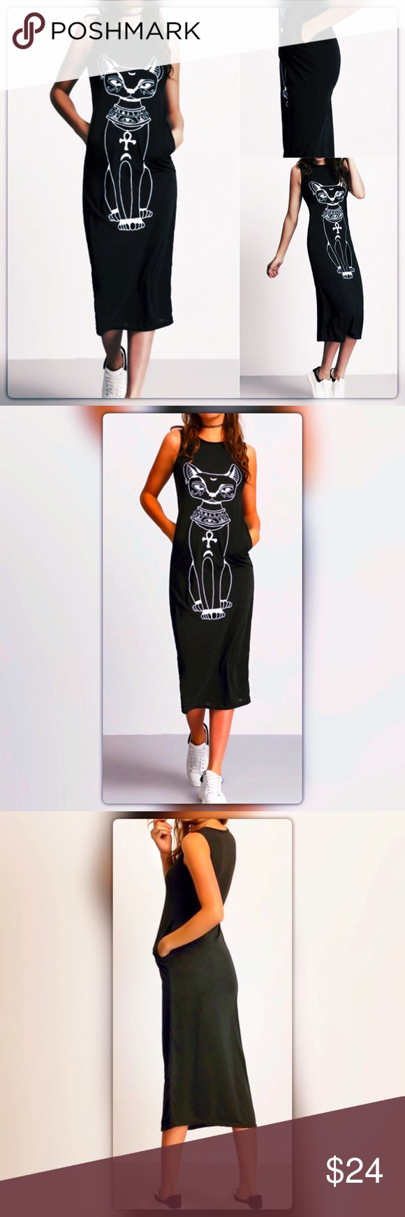 COMING SOON ! Sleeveless Cat Print Tank Dress Sleeveless midi Dress made with polyester and jersey material has no stretch Dresses