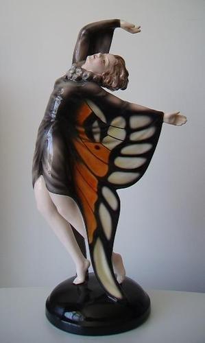Rare Austrian Goldscheider Art Deco Figurine By Lorenzl C-1930's