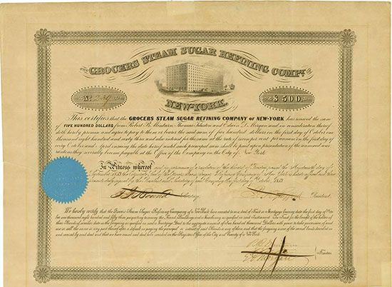 HWPH AG - Historische Wertpapiere - Grocers Steam Sugar Refining Compy. of New-York New York, 1 October 1853, 7 % Bond for US-$ 500, #239,