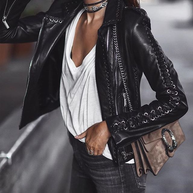 Leather jacket ♠️ @doses_of_style  Picture by Fashionedchicstyling®