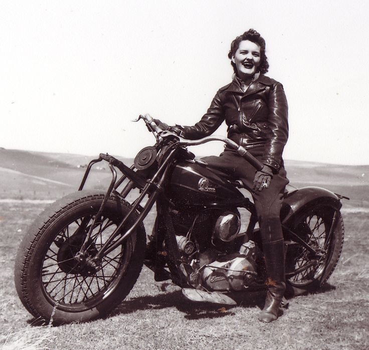 Unfortunately, the identity of the rider is unknown, though we do know that she sits astride an Indian motorcycle that probably dates from the 1930s, and associated with the Stockton Motorcycle Club.