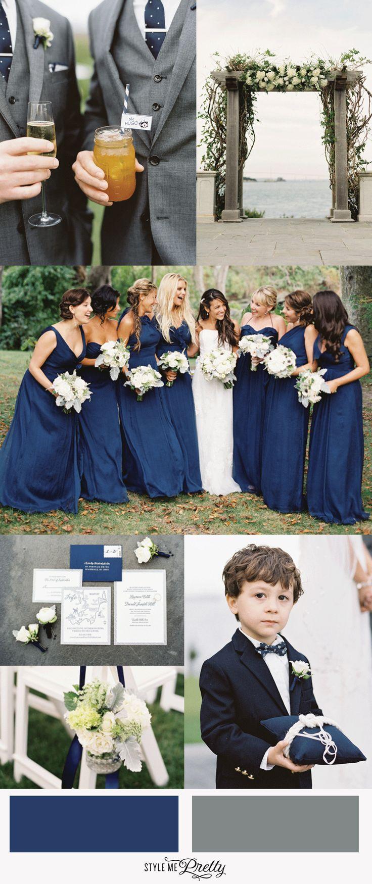 Navy and gray wedding details: http://www.stylemepretty.com/2015/03/03/modern-nautical-newport-wedding/