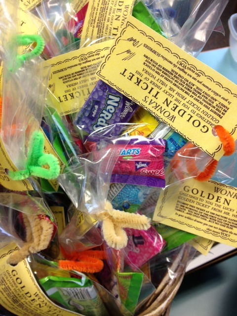 Wonka Goodie Bags for our Willy Wonka and the Chocolate Factory movie night.