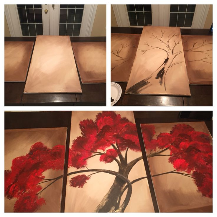 5 foot wide abstract tree triptych multi canvas DIY decor