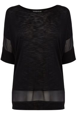 This oversized jersey top features a round neck, cropped sleeves and semi-sheer chiffon panelling to sides and hem