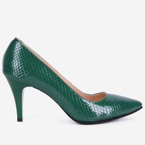 Pantofi Stiletto din piele naturala verzi Shelley