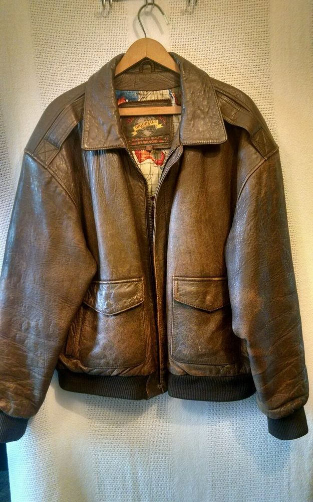 Wilsons Adventure Bound Bomber Brown Leather Jacket Vintage Poly Liner  Sz XL #Wilson #FlightBomber
