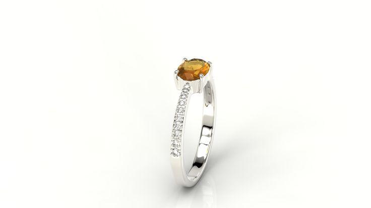 Pierścionek z pomarańczowym szafirem i diamentami/ Ring with orange sapphire and diamonds #jewellery #ring #diamonds #sapphire