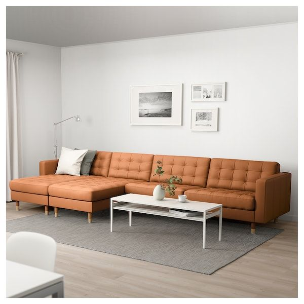 Landskrona Sectional 5 Seat With Chaise Grann Bomstad Golden Brown Wood Ikea Sectional Furniture Ikea