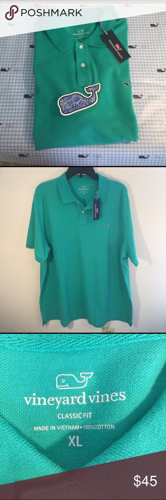 NEW Vineyard Vines XL Cove Green Classic Fit Polo NEW Vineyard Vines XL Cove Green Classic Fit Polo 100% Cotton with Blue Whale Sticker Vineyard Vines Shirts Polos