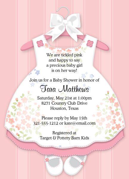 Baby Girl Dress Baby Shower Invitations  Cricut Baby -4698