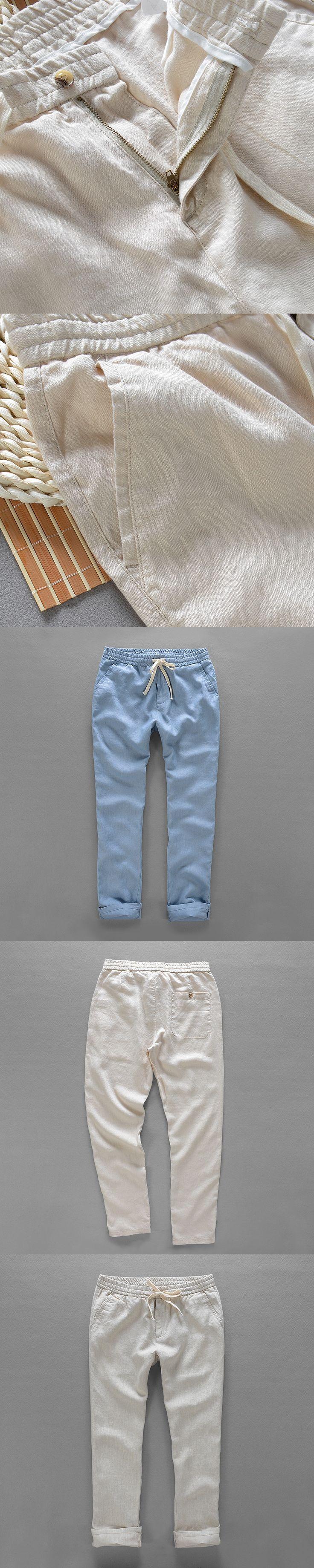 Brazil style pure linen pants men brand fashion men trousers loose casul pants mens 40 size 5 colors mens trousers flax pantalon