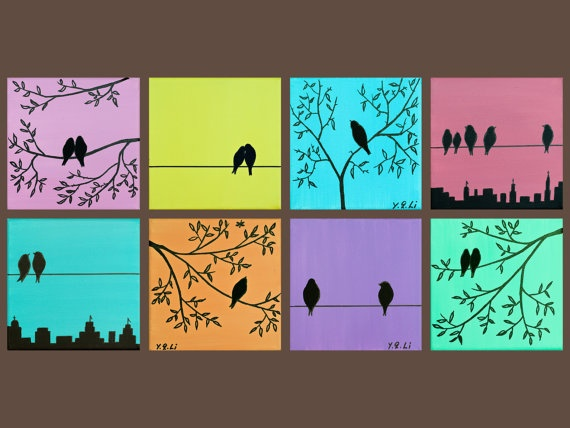 """Pastel Eight Squares Art - Original Modern Abstract Painting Love Birds Trees """"Mix and Match Suburban Birds"""" by QIQIGALLERY"""