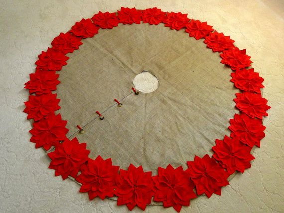 "60"" Christmas Tree Skirt in a Natural Burlap with Red Hand cut Poinsettas around the perimeter. ""FREE SHIPPING"""