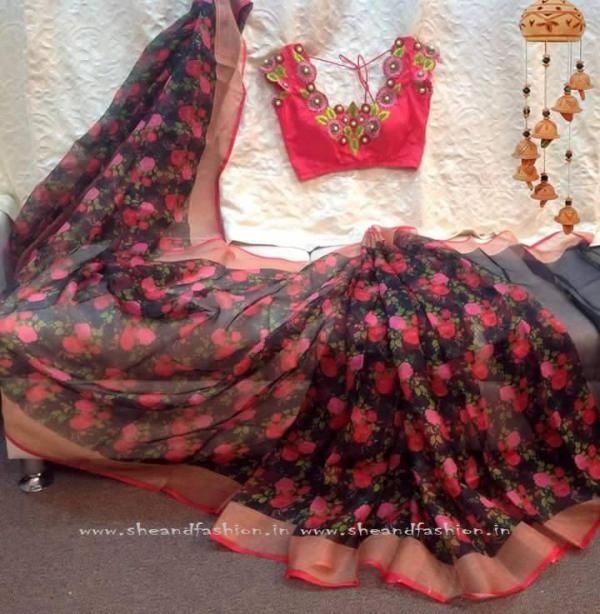Sarees with Flowers and Floral Prints