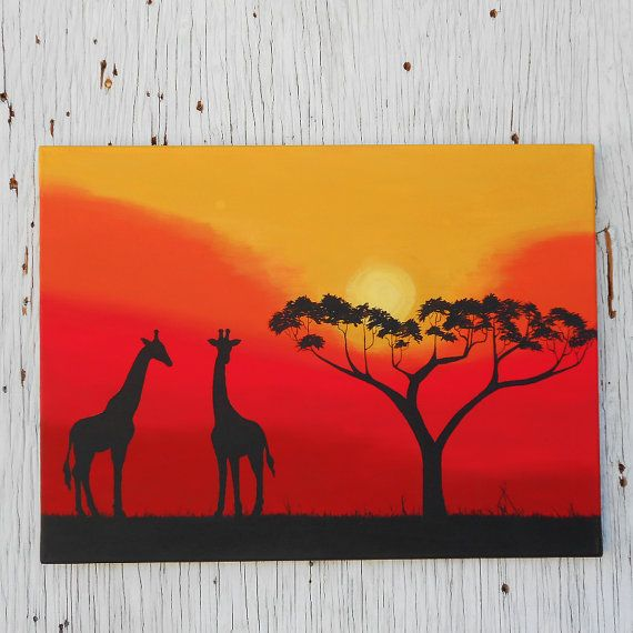 African Sunset Silhouette Art Giraffe Painting by Mae2Designs