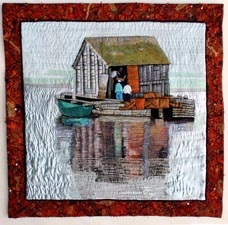 """""""Books and Cards available at 1061 Marginal Rd Halifax, NS at the Designer Craft Shop""""  Laurie Swim's quilt art...beautiful!"""