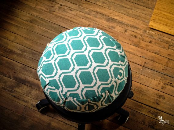 Hexagon print Meditation cushion zafu green turquoise cotton print Buckwheat pillow by Creations MariposaZen